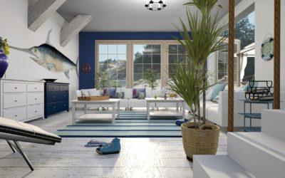 Piękne pomieszczenia skąpane w błękicie – pomysły na dekorowanie w kolorze niebieskim